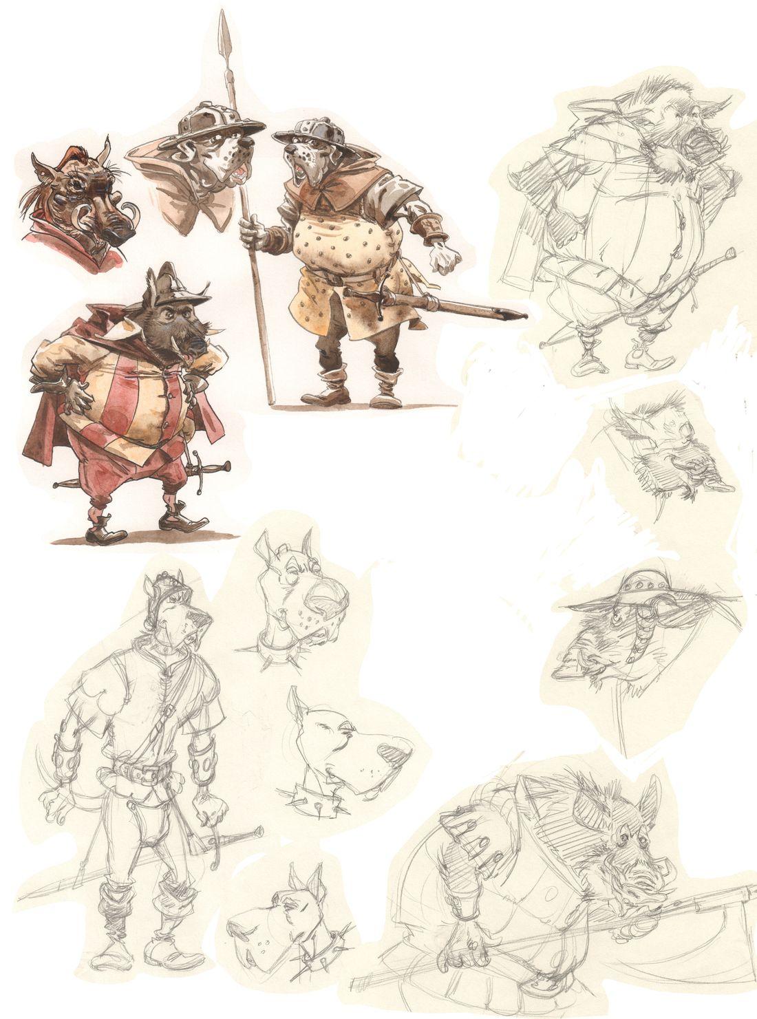 Tracnar et Faribol, le cahier graphique : les gardes © Bamboo / Du Peloux