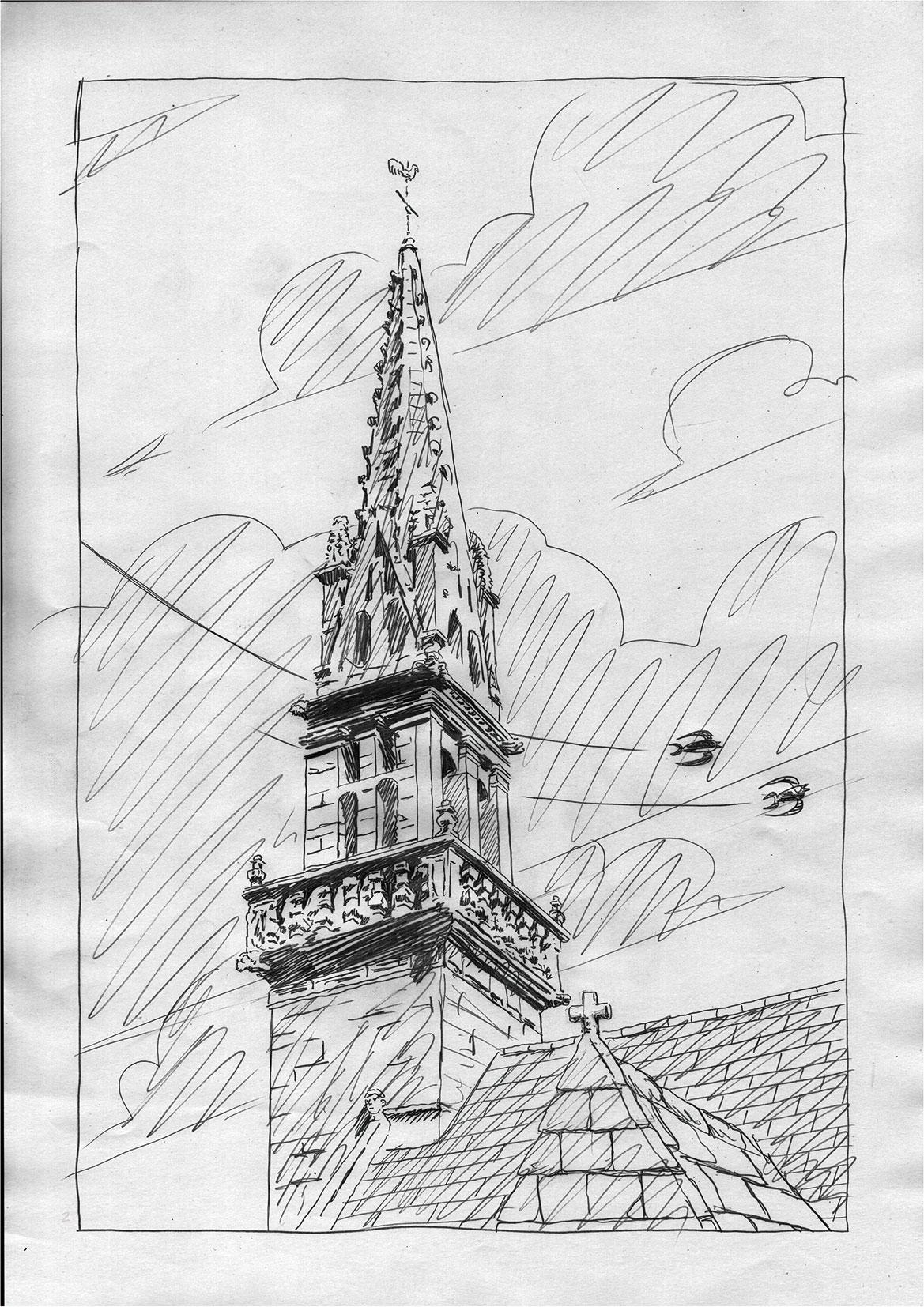 le Cheval d'Orgueil, crayonné de la page 1 © Soleil / Lizano / Galic