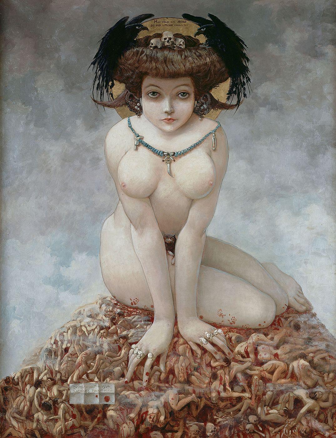 Elle, de Gustav-Adolf Mossa, peint en 1905. Ce tableau m'a donné l'idée des scènes dites « oniriques » d'Isabelle géante jouant avec des hommes miniatures. L'intrigue étant contemporaine du Gulliver de Swift, jouer avec ces rapports d'échelle métaphoriques s'imposait.