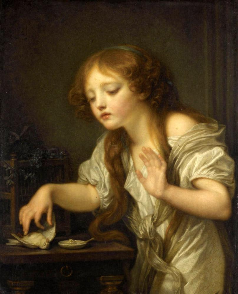 « L'oiseau mort » de Jean-Baptiste Greuze. Est une allégorie de la perte de virginité. Cette toile est au musée des beaux arts de Nantes, où je vis. Et je n'ai pu m'empêcher de la placer dans la scène de la défloration d'Isabelle par son époux le Marquis de Merteuil.