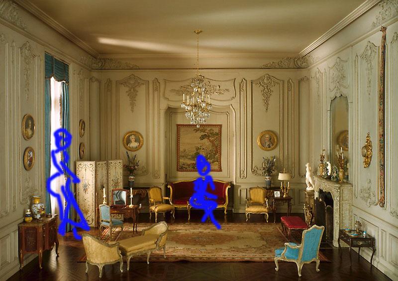 Des fois le scénariste a recours à des schémas pour permettre de visualiser la mise en scène d'une scène. Ici isabelle et sa mère dans les appartements du comte qu'elles occupent.