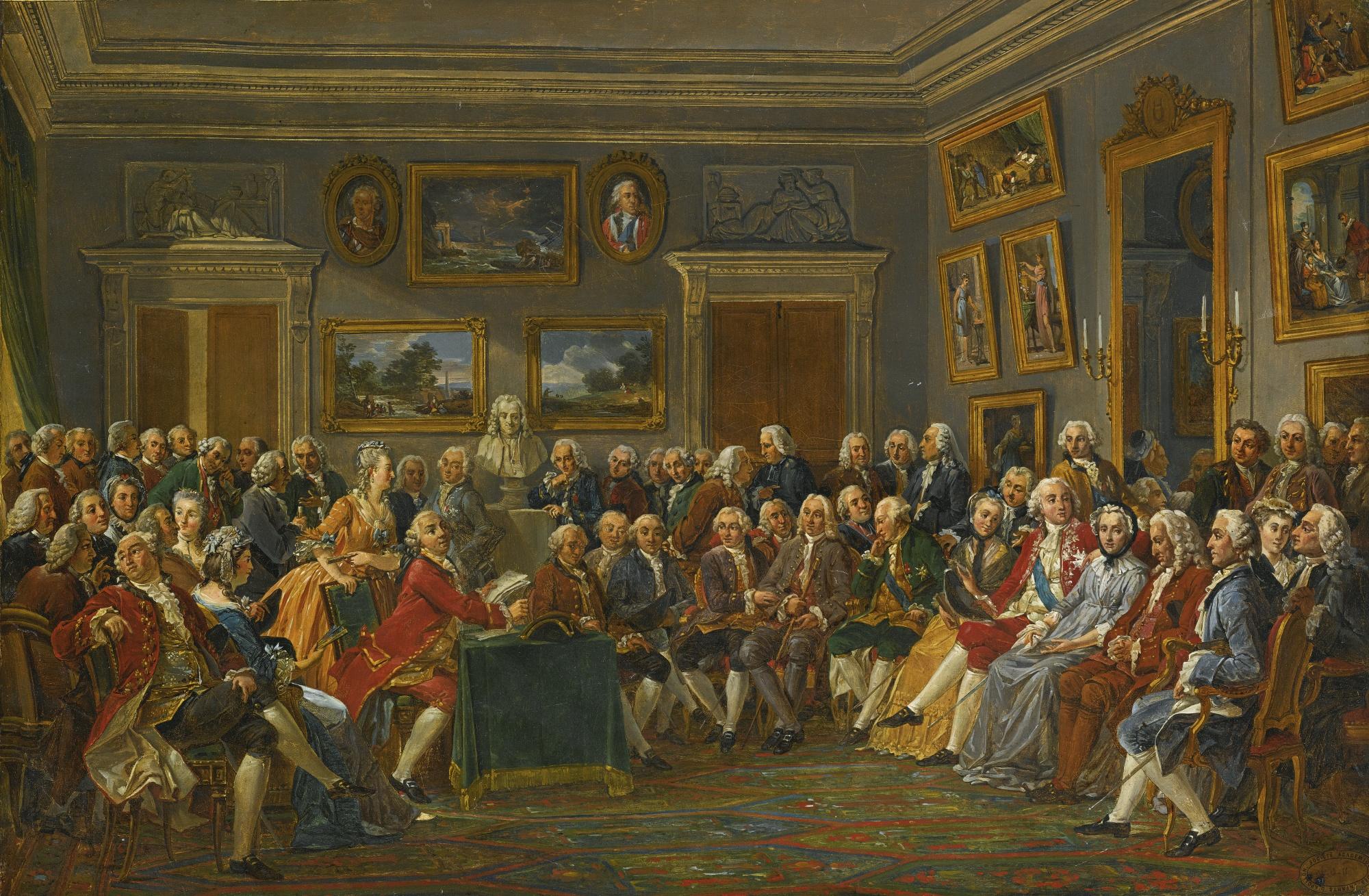 Le fameux salon de madame Geoffrin, où les plus illustres figures des Lumières se pressaient pour débattre de la place de l'homme – et de la femme – dans l'univers.