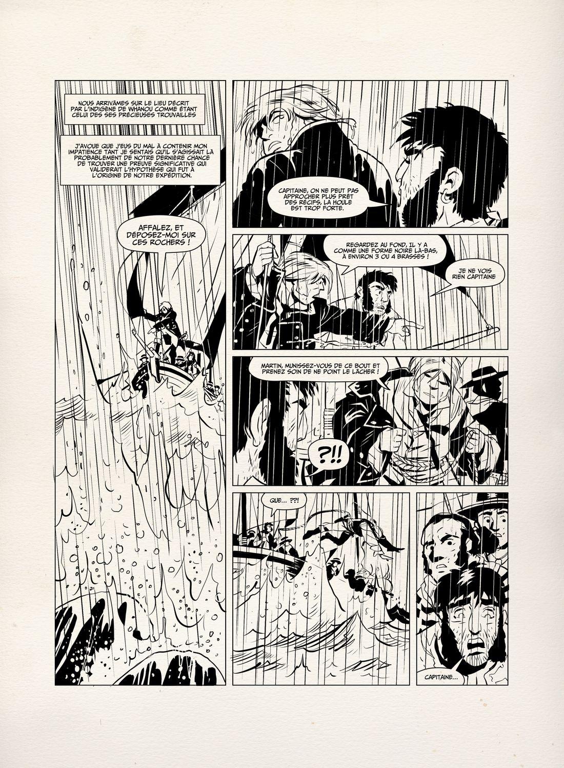 Peter Dillon, l'énigme Laperouse, encrage de la planche 65 © Boris Beuzelin