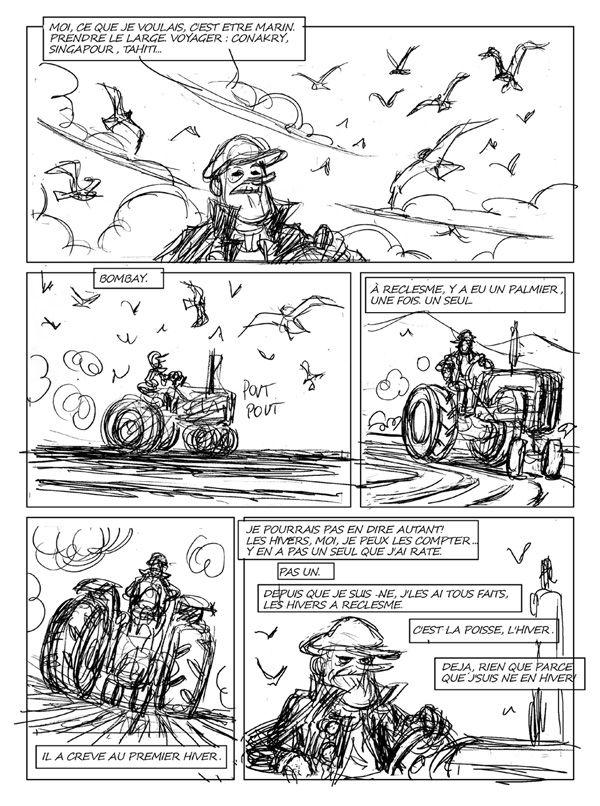 Le Voyage d'Abel, crayonné de la planche 14 © Bamboo / Duhamel / Sivan