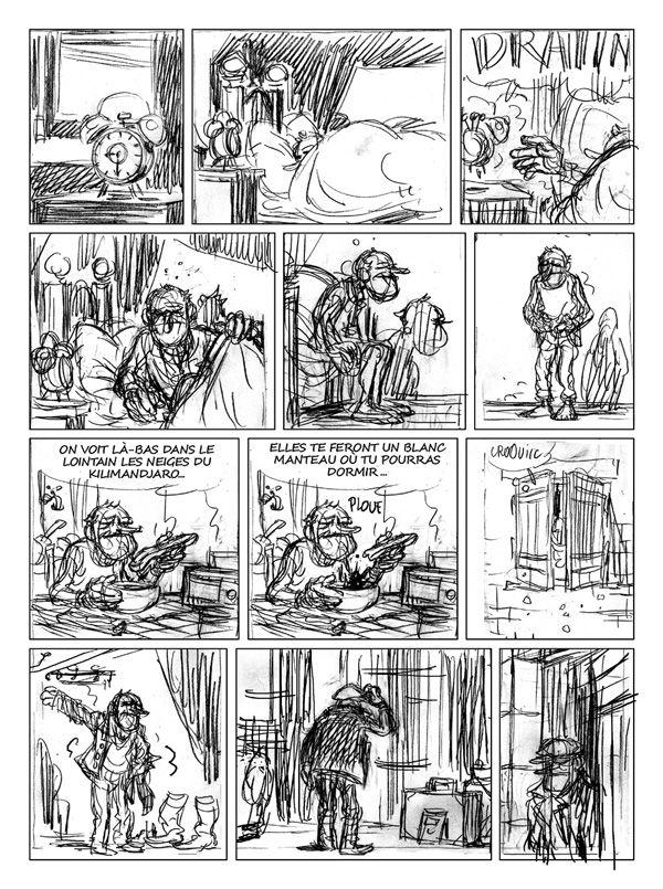 Le Voyage d'Abel, crayonné de la planche 24 © Bamboo / Duhamel / Sivan