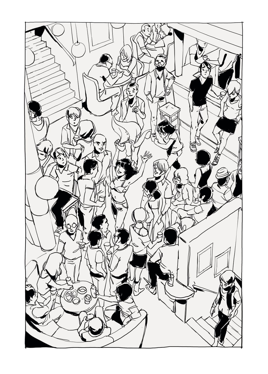Luisa, ici et là, première case de la planche 175, étape 3 © Carole Maurel