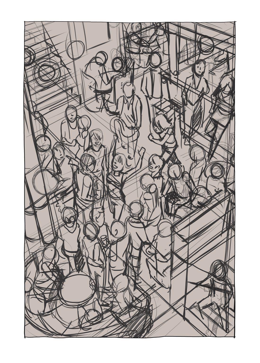 Luisa, ici et là, première case de la planche 175, étape 2 © Carole Maurel