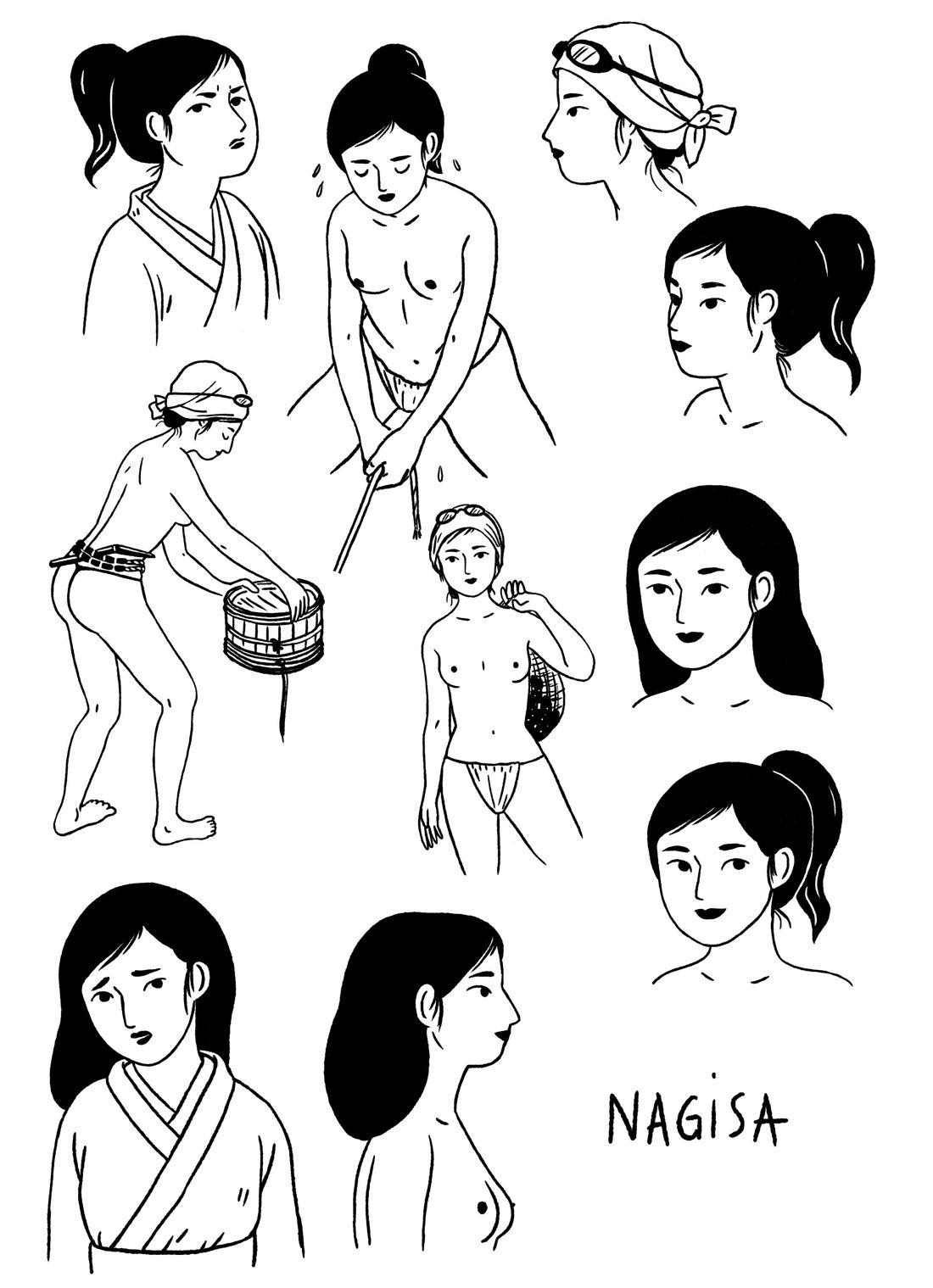 Ama - Le souffle des femmes, Nagisa, recherche de personnages © Sarbacane / Becq