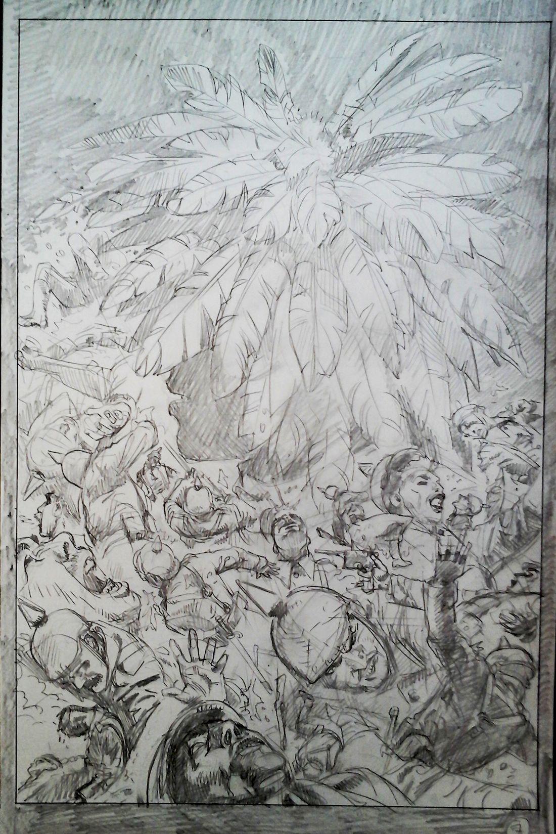 La ballade du soldat Odawaa, crayonné de la page 9 © Rossi / Apikian