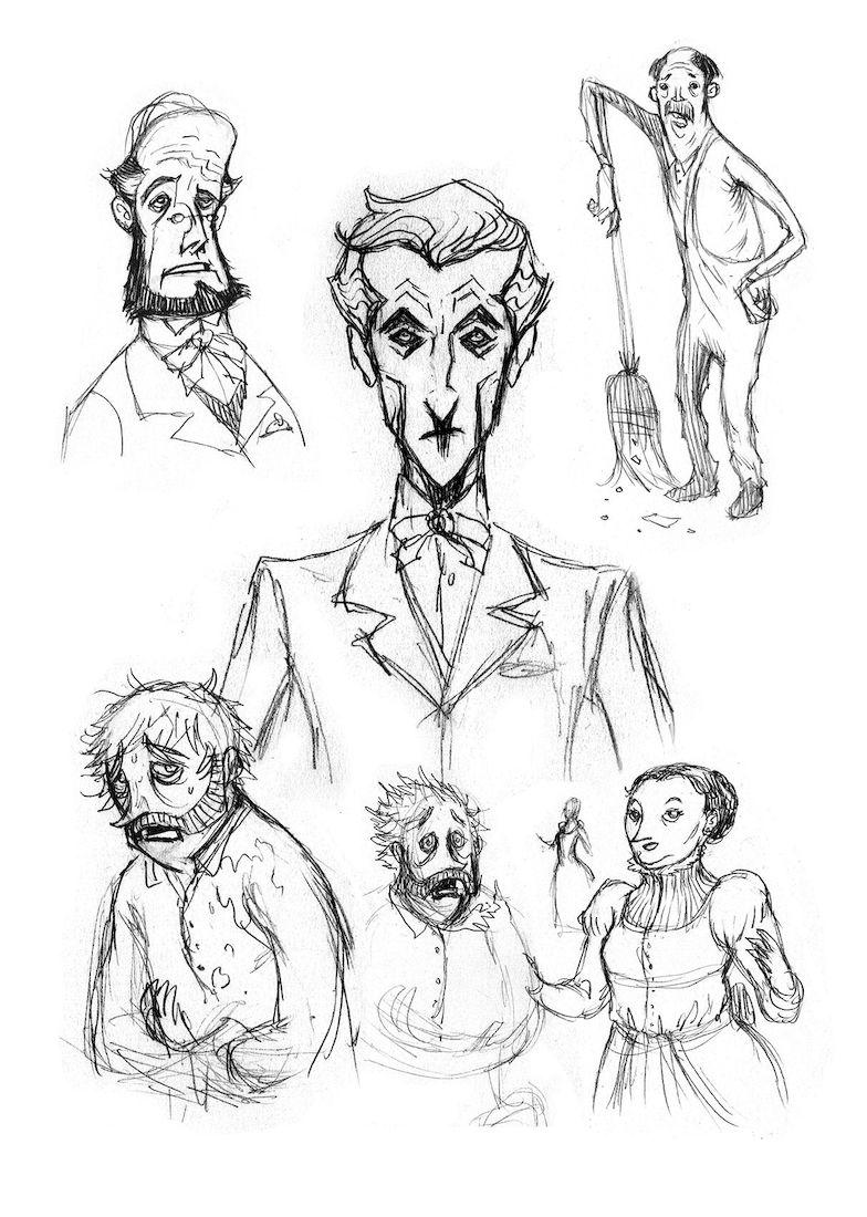 Dans la tête de Sherlock Holmes, croquis de personages © Ankama / Dahan / Liéron / Dahan