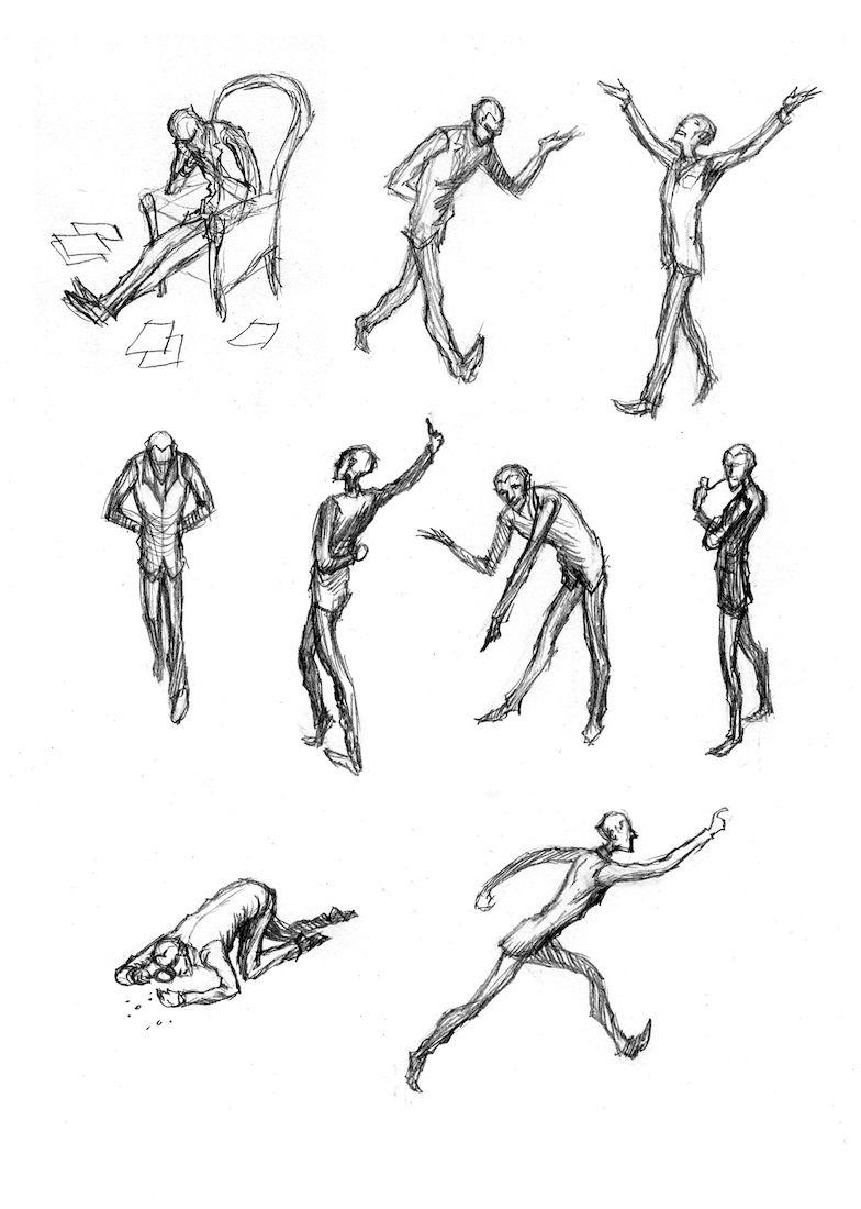 Dans la tête de Sherlock Holmes, recherche sur les postures © Ankama / Dahan / Liéron / Dahan