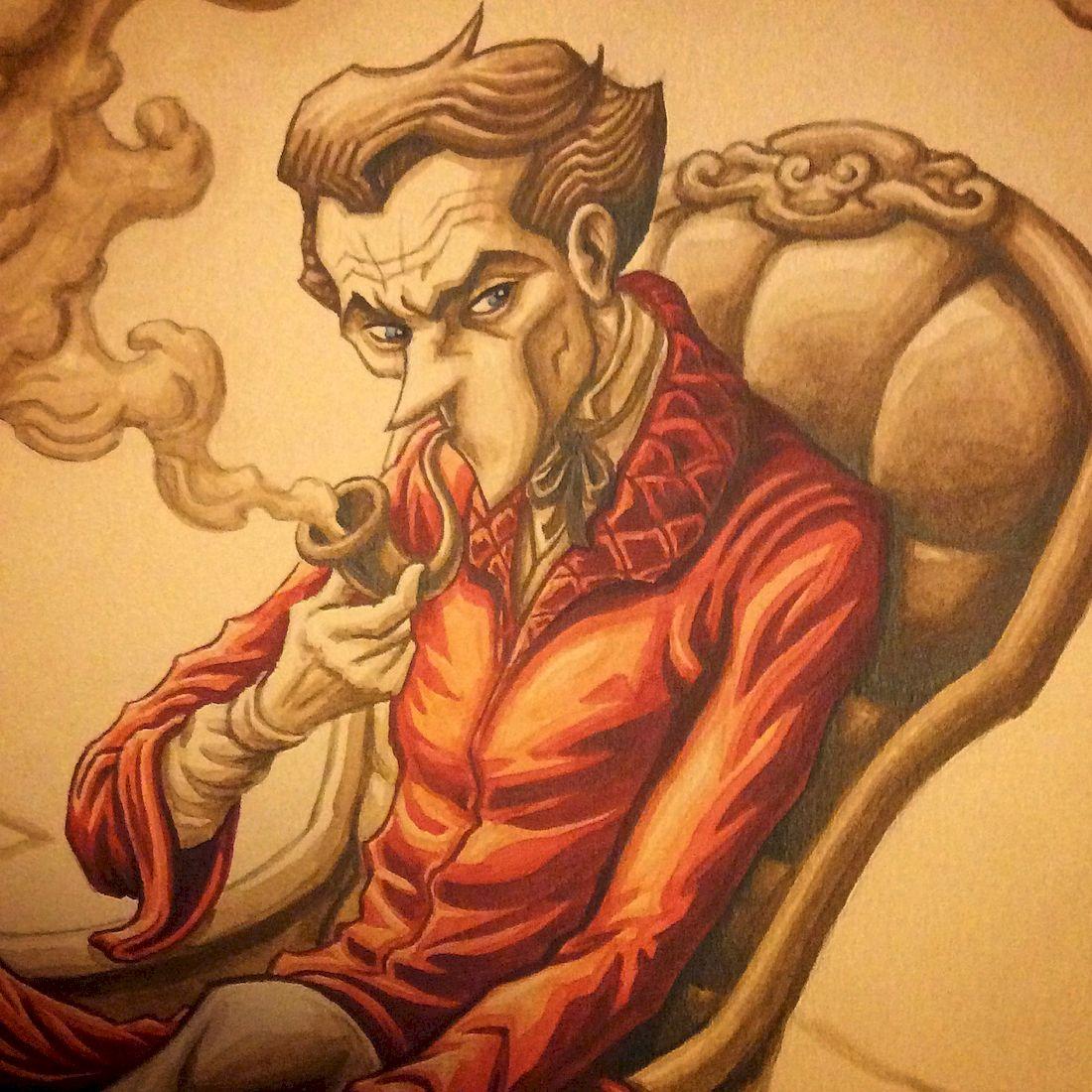 Dans la tête de Sherlock Holmes, gros plan sur une aquarelle © Dahan