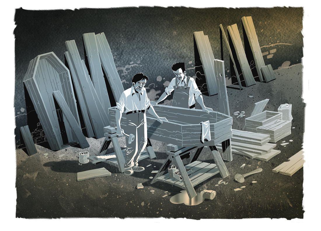 Halifax, mon chagrin, la fabrique de cercueils © Pascal Regnauld