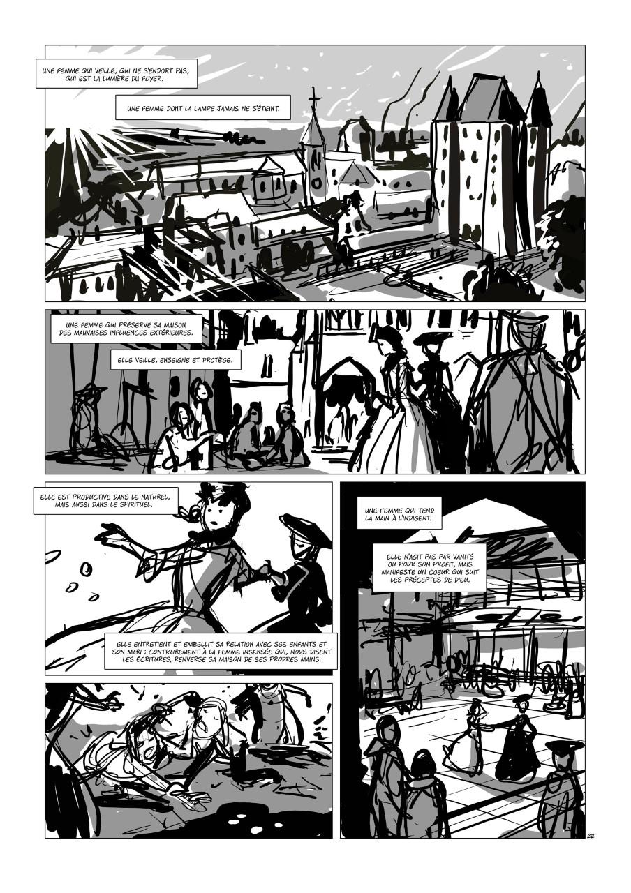 Liaisons dangereuses préliminaires, rough de la planche 22 du tome 2© Glénat / Djief / Betbeder