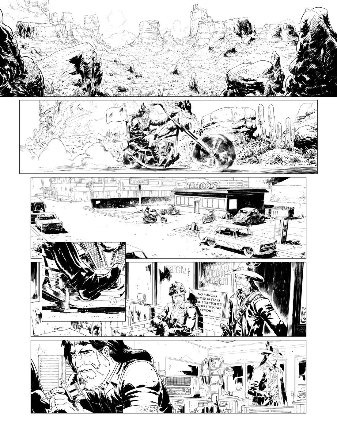 Hit the road, page 1 : noir & blanc © Glénat / Afif Khaled / Dobbs