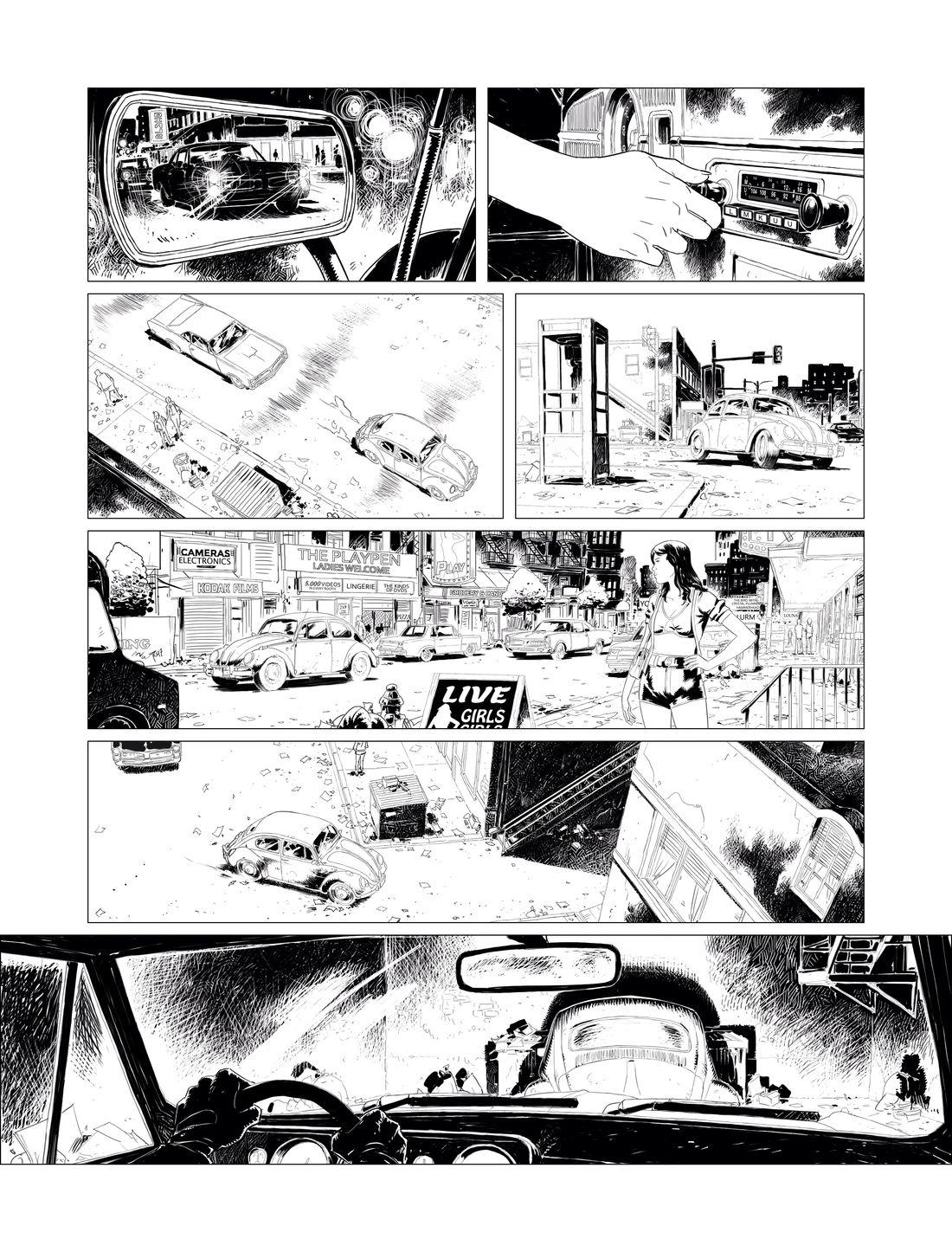 Hit the road, page 4 : noir & blanc © Glénat / Afif Khaled / Dobbs