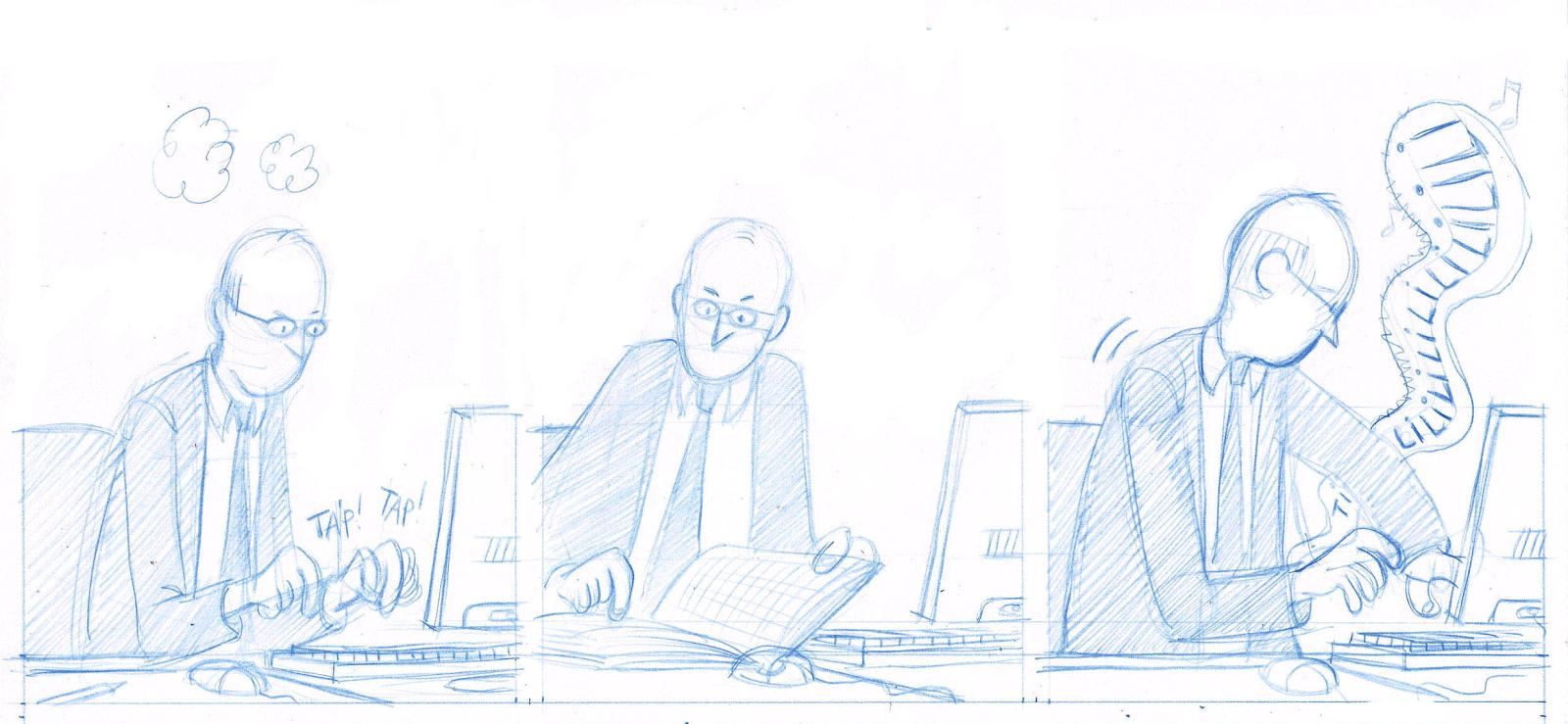 Les deux vies de Baudouin, storyboard d'un strip de l'album © Delcourt / Toulmé