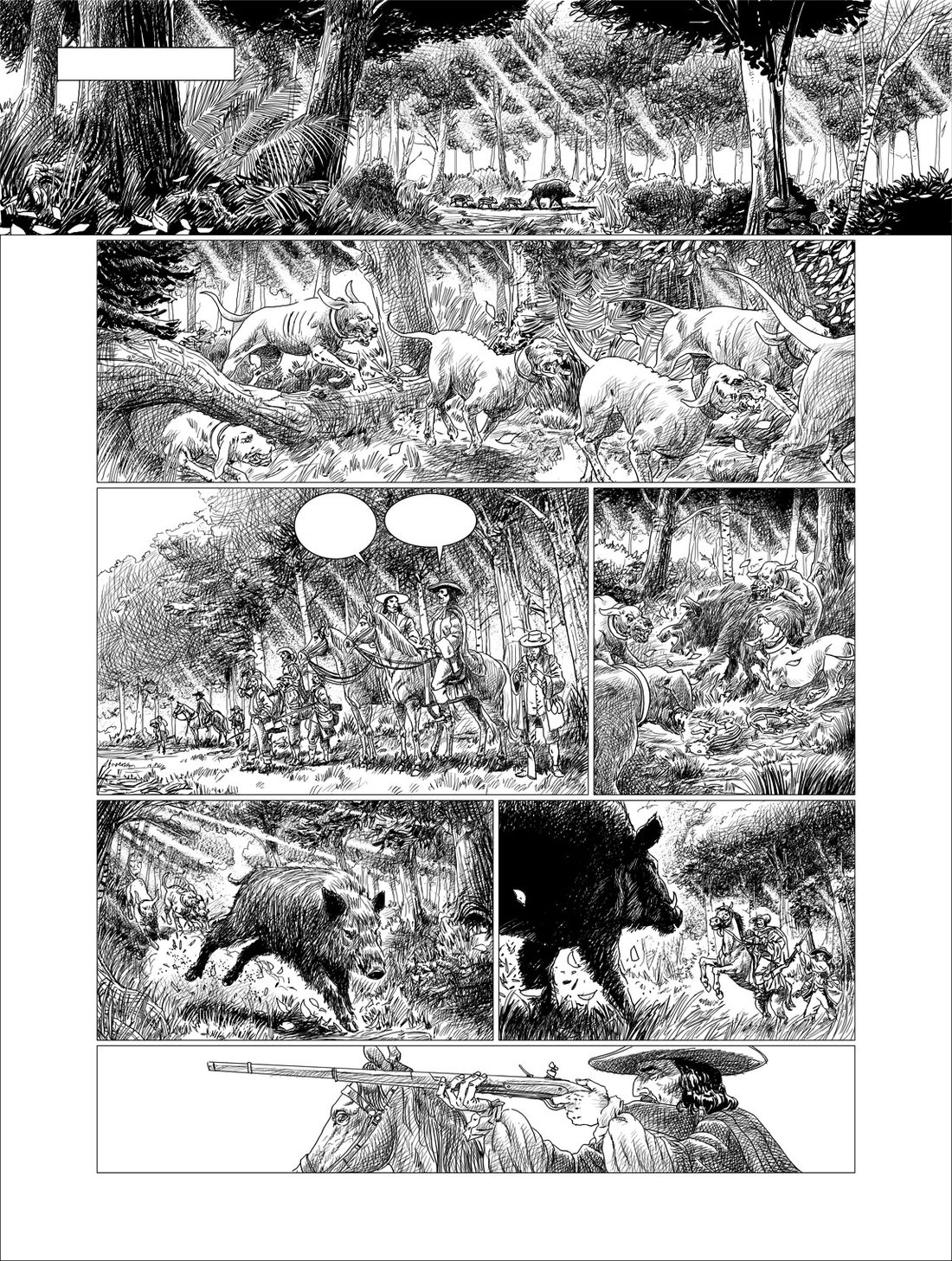 Mousquetaires, crayonné de la planche 14 © Florent Calvez