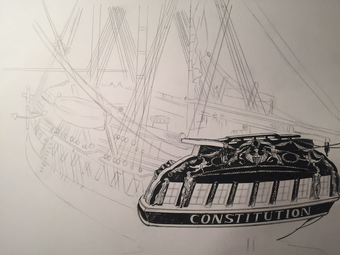 USS Constitution, crayonné du tome 2 © Glénat / Bonnet