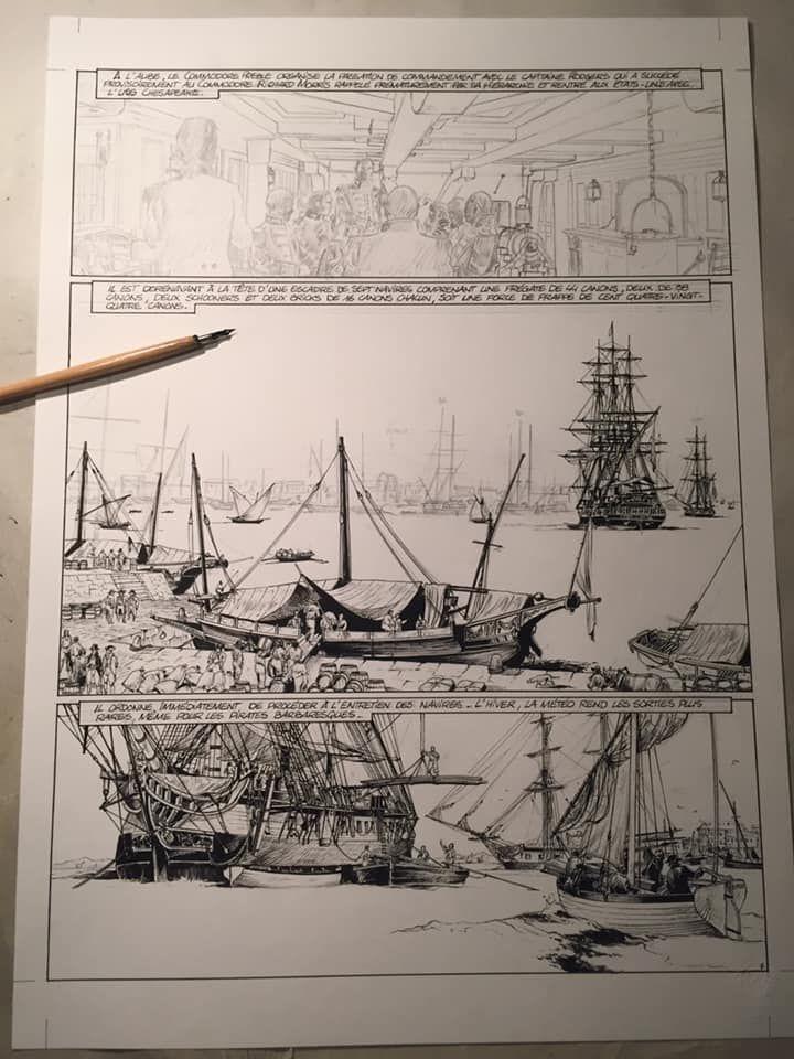 USS Constitution, work in progress du tome 1 © Glénat / Bonnet