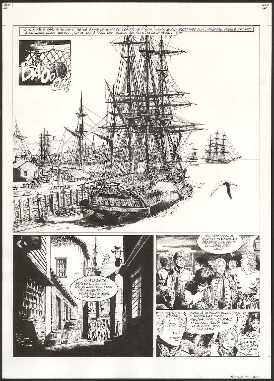 USS Constitution, encrage de la planche 1 du tome 1 © Glénat / Bonnet