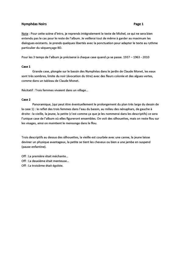 Nymphéas noirs, scénario de la page 1 © Fred Duval