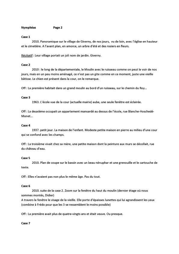 Nymphéas noirs, scénario de la page 2 © Fred Duval