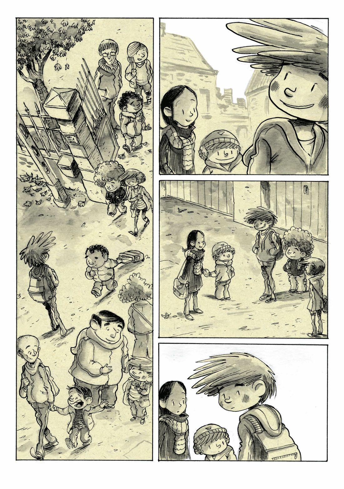Supers, planche 24 du tome 2, ajout de la texture © Editions de la gouttiere / Dawid / Maupomé