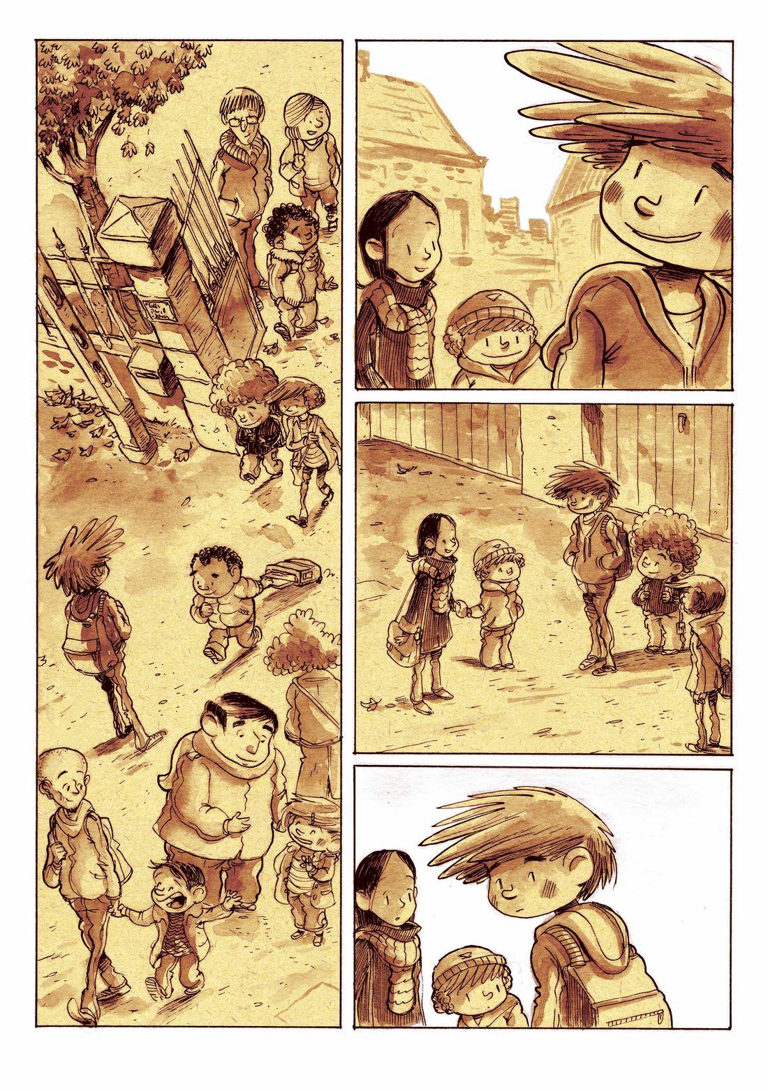 Supers, planche 24 du tome 2, calque de colorisation © Editions de la gouttiere / Dawid / Maupomé