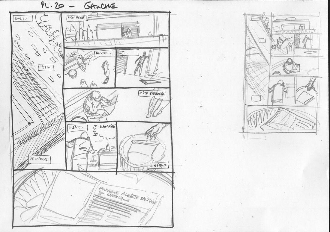 Le projet Bleiberg, storyboard de la planche 20 © Le Tendre / Peynet