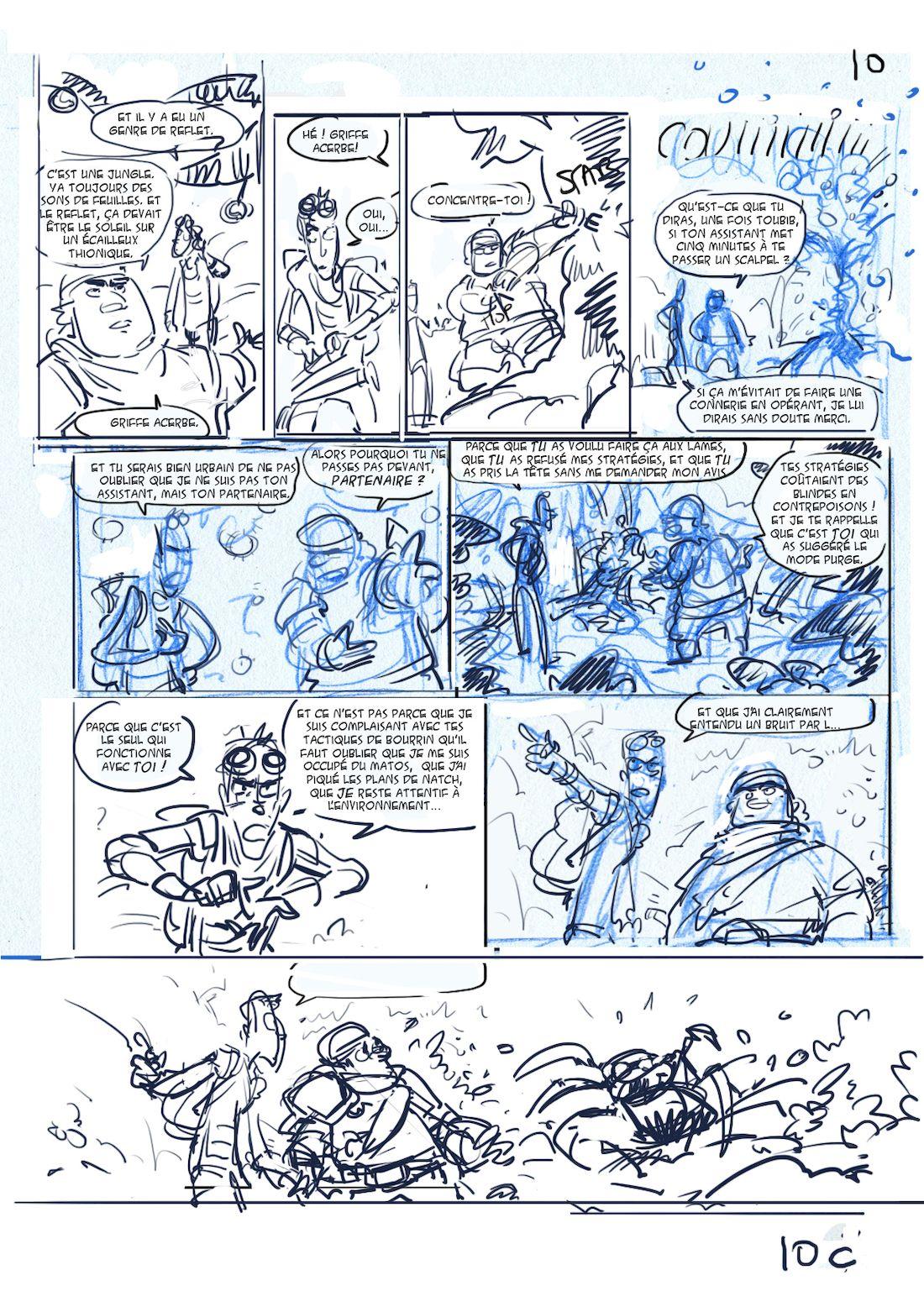 Dragon & Poisons, storyboard de la planche 10, version C © Morse / Bauthian