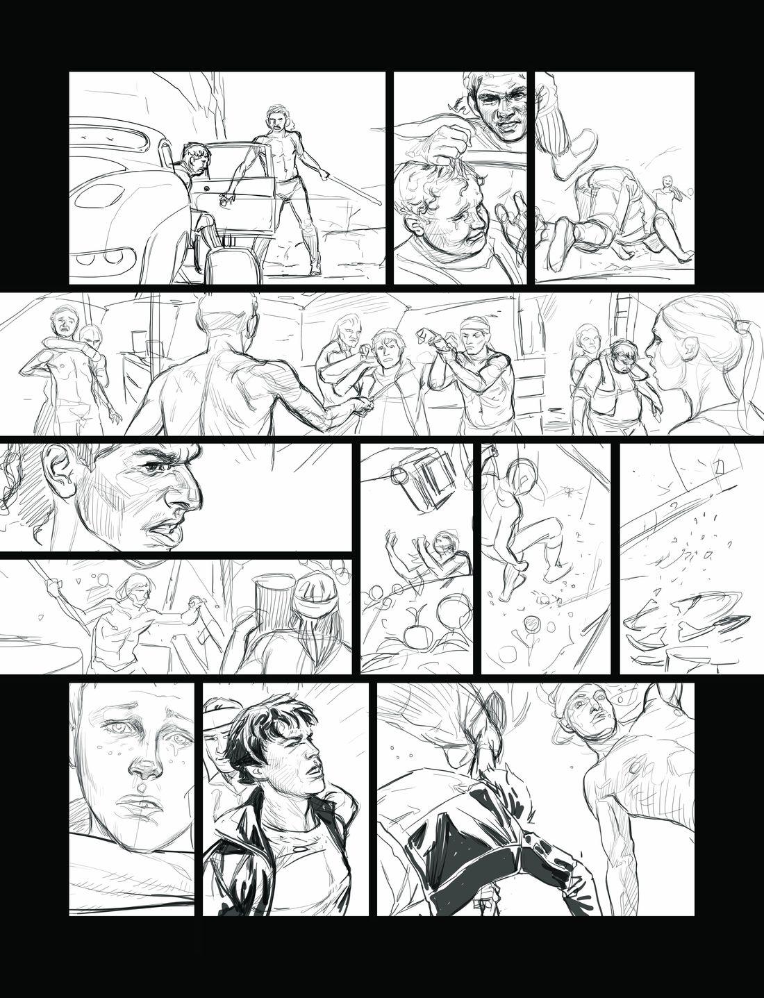 Elecboy, crayonné de la page 36 © Dargaud / Salaün