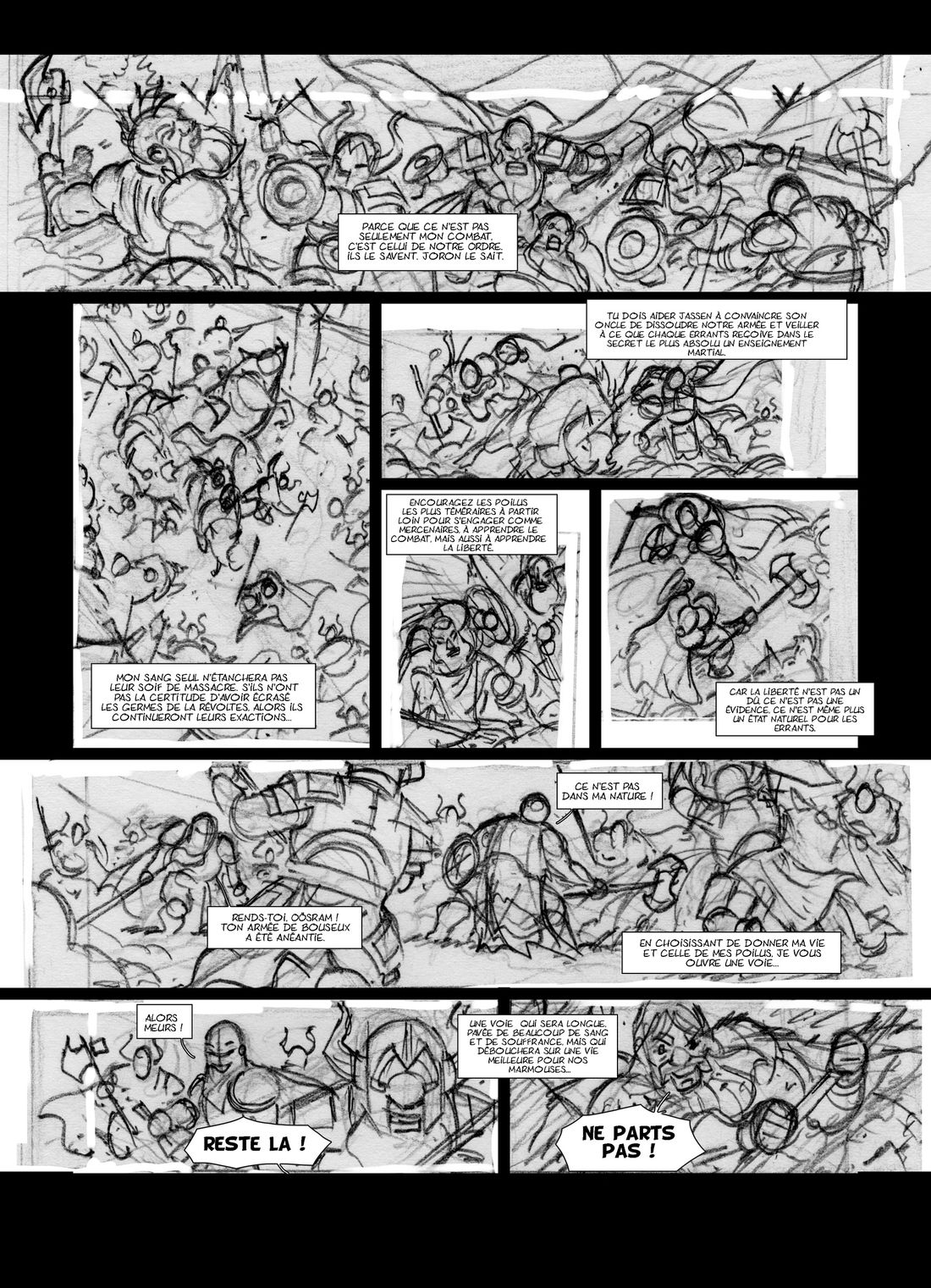 Nains, storyboard de la planche 49 © Jean-Paul Bordier
