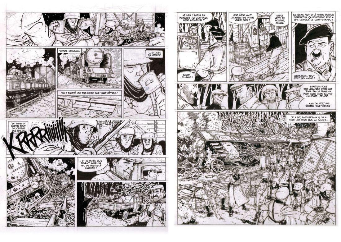 Le Merlu, Encrage de la page 6 et 7 @ Thierry Dubois / Jerome Phalippou