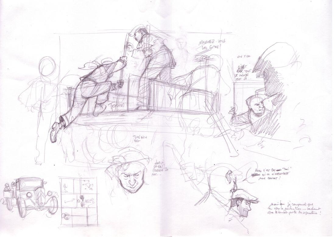 Quant aux étapes de construction d'une planche, je commence toujours par faire de nombreux crayonnés sur des feuilles libres. A ce stade, j'essaie, je gomme, je recommence, jusqu'à user la fibre du papier. Une fois les crayonnés faits, je scanne tout ça en vrac et la mise en forme de la page va se faire sur ordinateur... @ Thierry Dubois / Jerome Phalippou