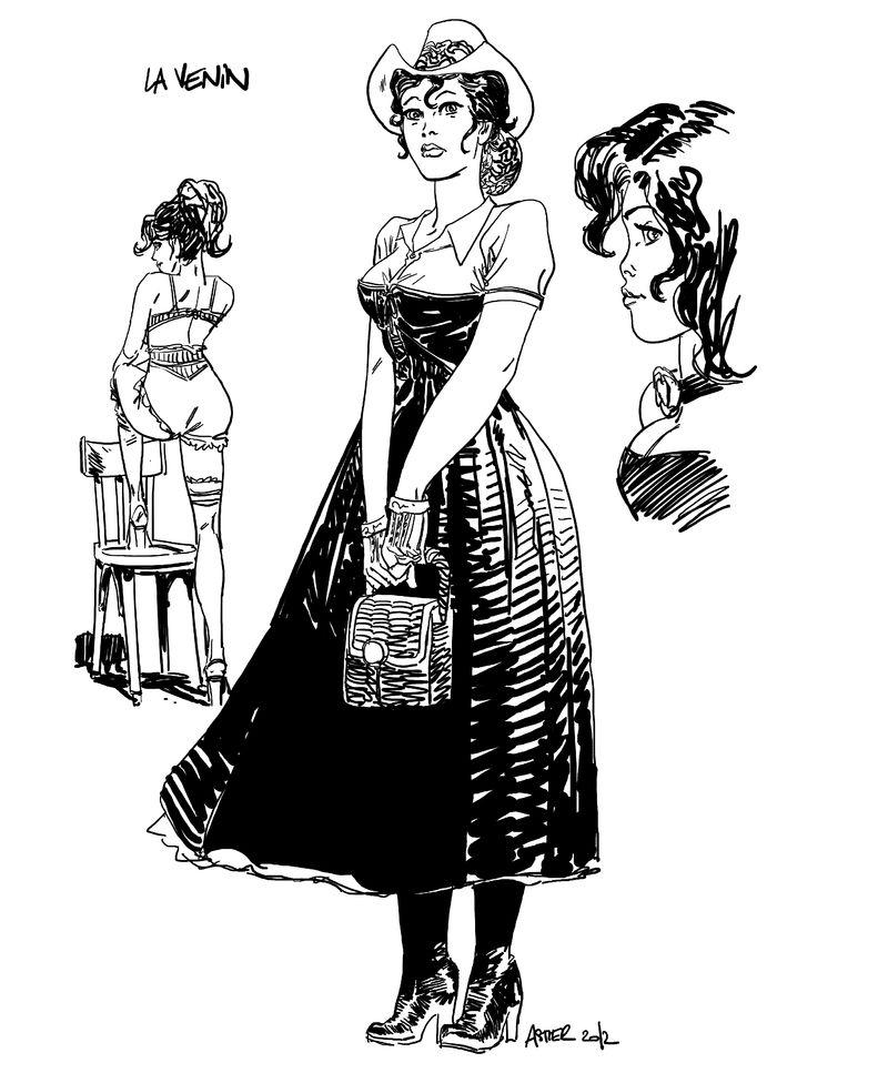 La Venin, dessin hommage au personnage de Jil incarné par Claudia Cardinale et qui a inspiré la série © Laurent Astier