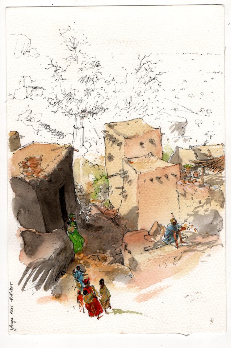 Une maternité rouge, Mali, ville dogon © Lax