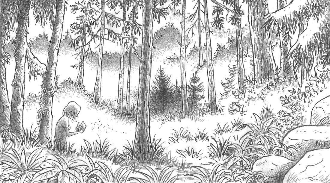 dans la Forêt, case de l'album © Lomig