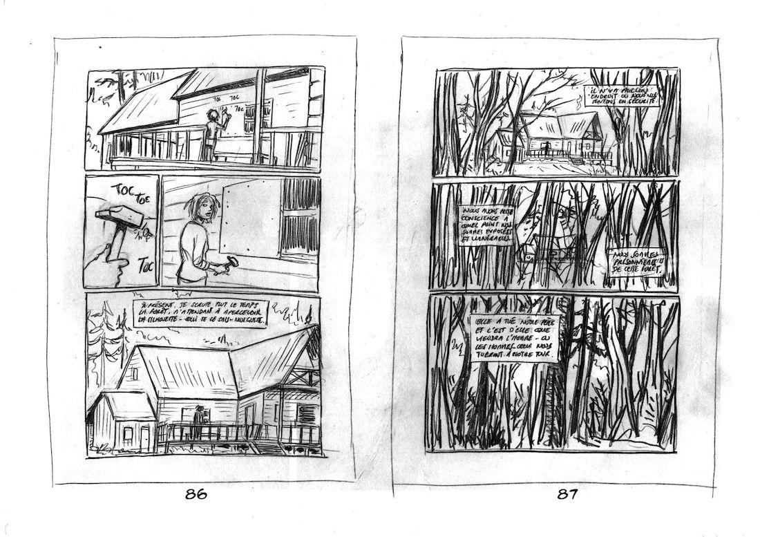 dans la Forêt, storyboard de la planche 1 © Lomig