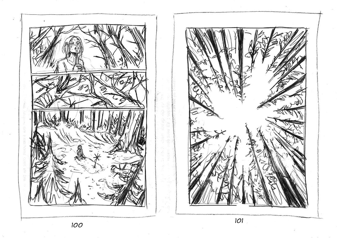 dans la Forêt, storyboard de la planche 2 © Lomig