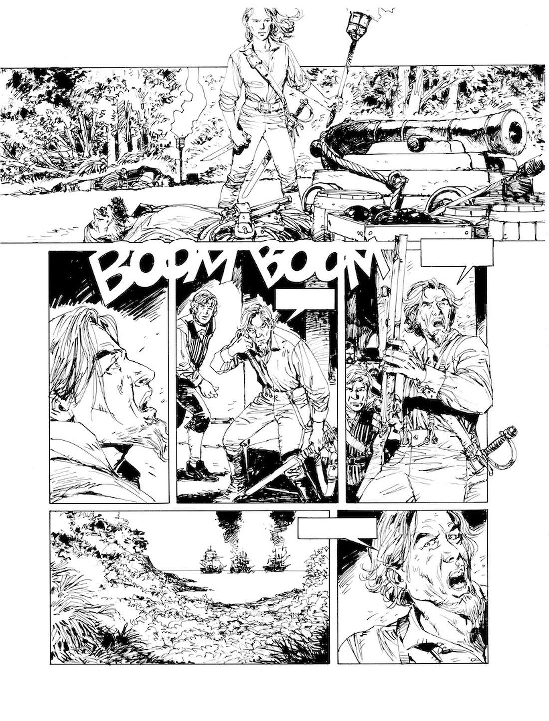 l'Art du Crime, version noir & blanc de la page 41 du tome 3 © Glénat / Mauro / Omeyer / Berlion
