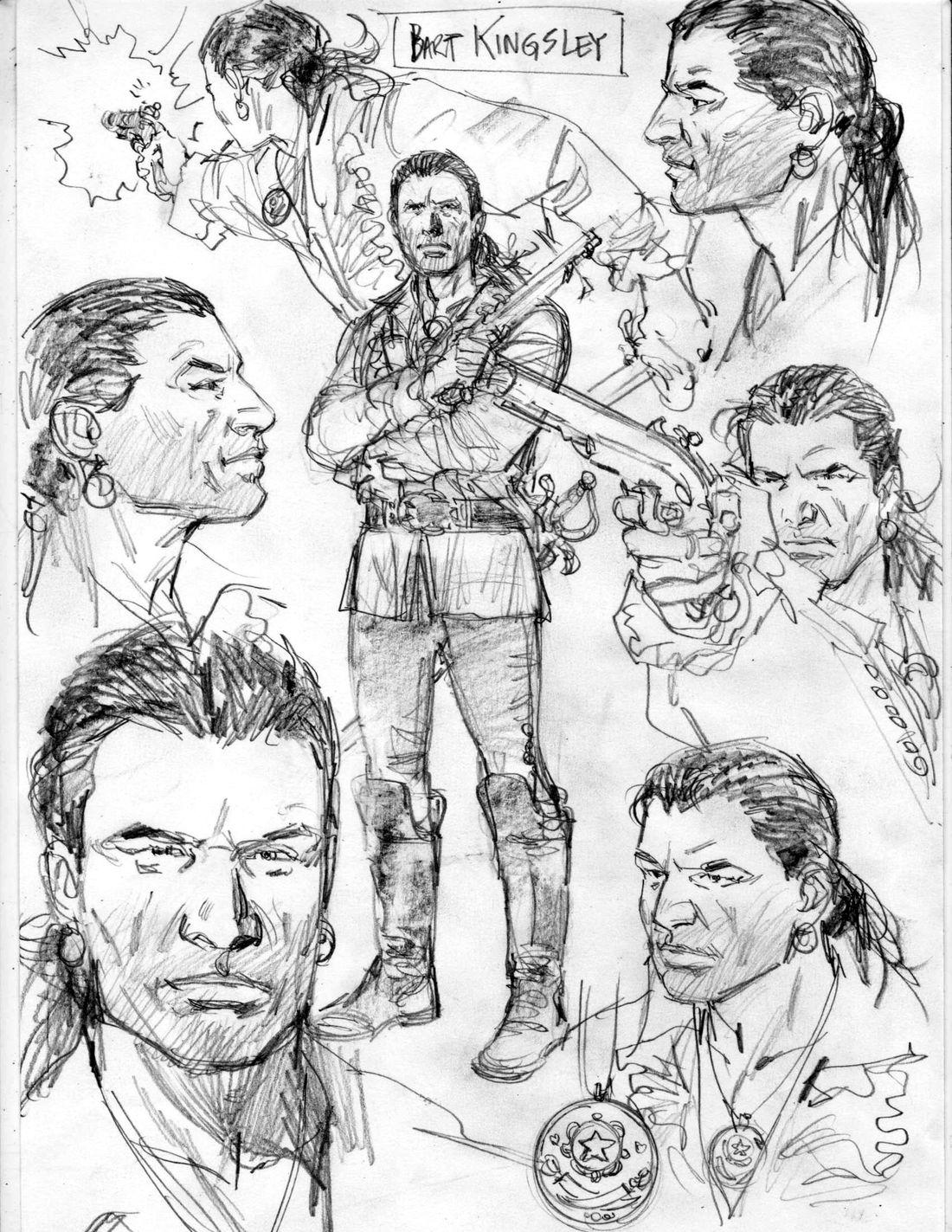 l'Art du Crime, tome 3, recherche de personnage, Bart Kingsley © Pedro Mauro