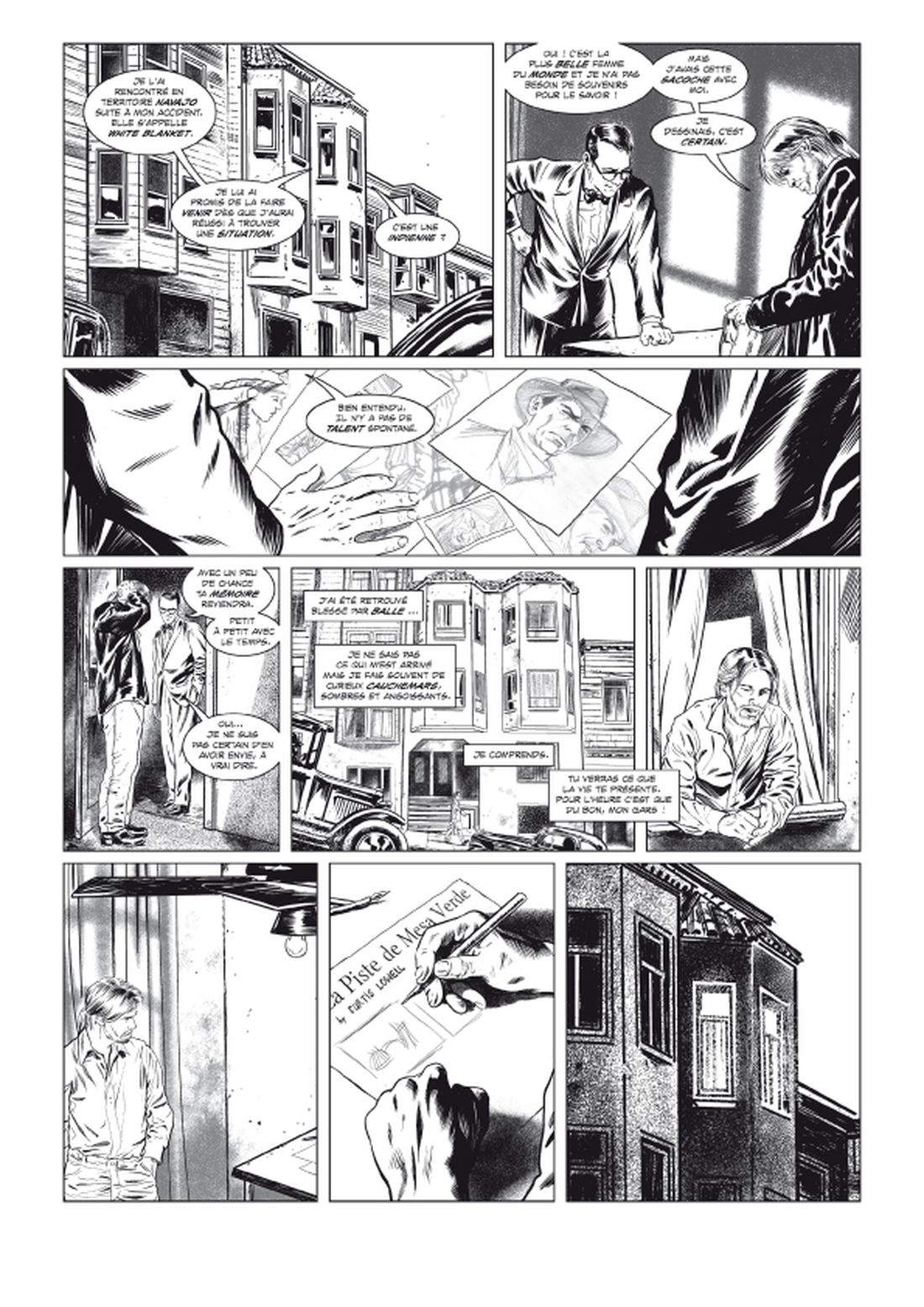 l'Art du Crime, version noir & blanc de la planche 38 du tome 5 © Glénat / Karl T. / Omeyer / Berlion