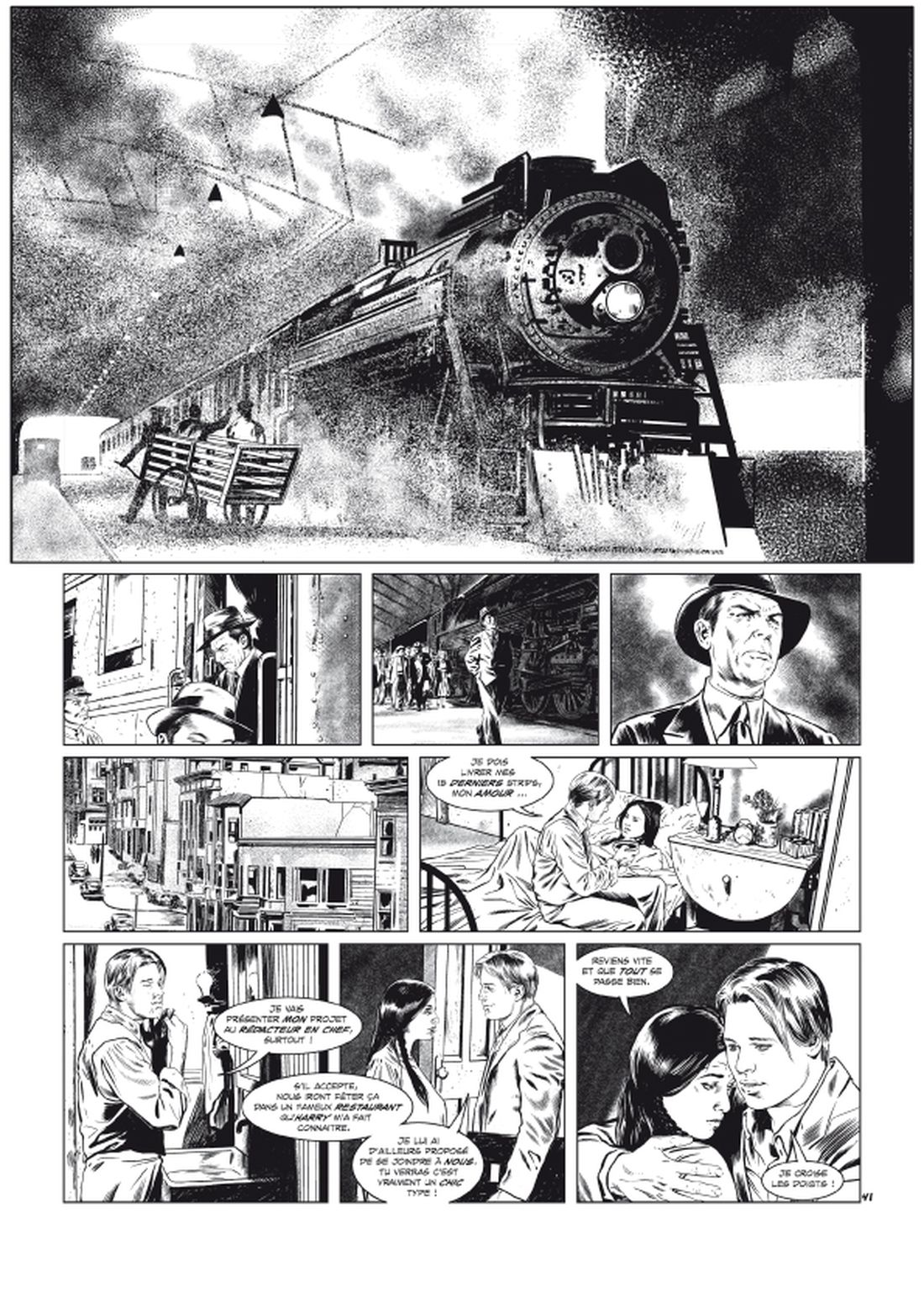 l'Art du Crime, version noir & blanc de la planche 41 du tome 5 © Glénat / Karl T. / Omeyer / Berlion