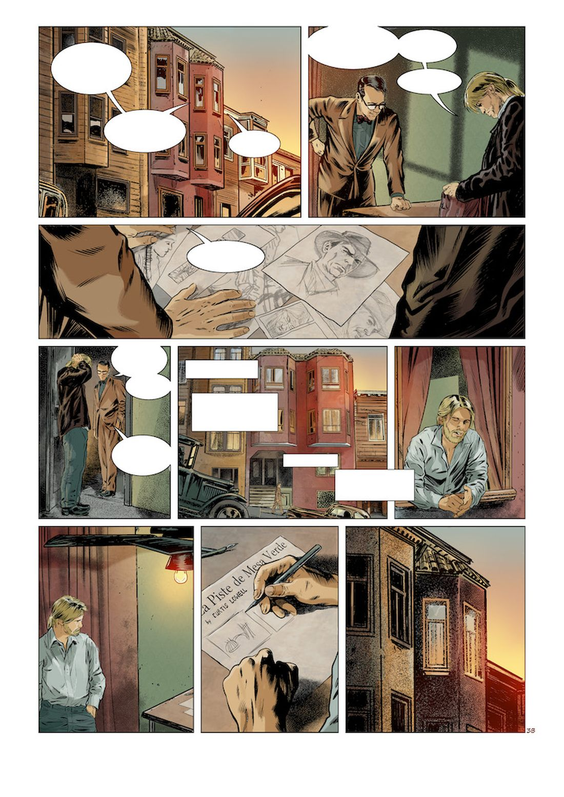 l'Art du Crime, version couleur de la planche 38 du tome 5, couleurs par Christian Favrelle © Glénat / Karl T. / Omeyer  / Berlion