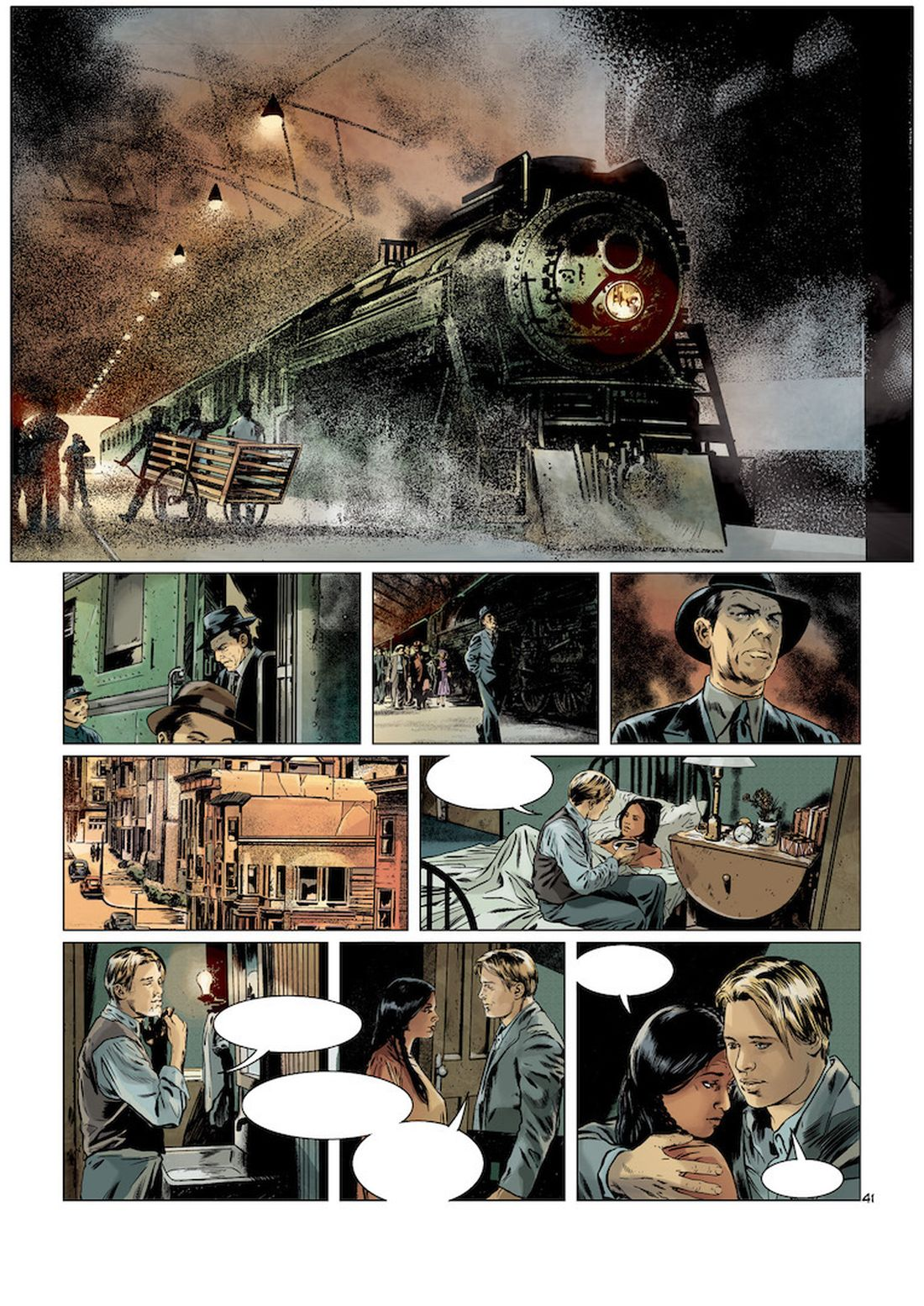 l'Art du Crime, version couleur de la planche 41 du tome 5, couleurs par Christian Favrelle © Glénat / Karl T. / Omeyer / Berlion