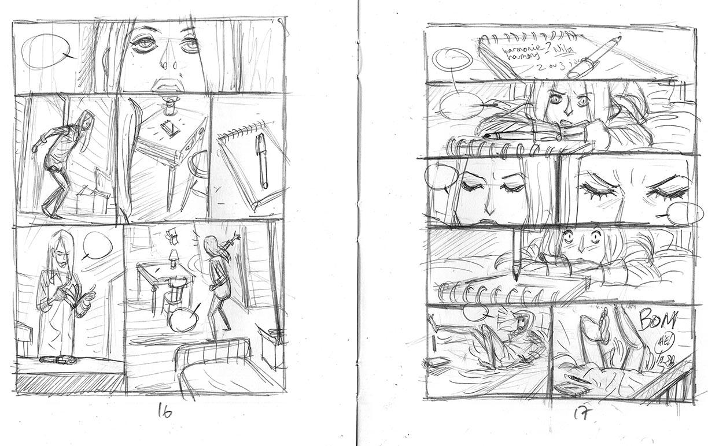 Harmony, Storyboard de la planche 16 et 17 © Reynès