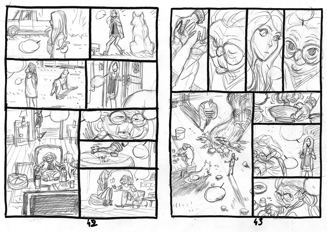 Harmony, Storyboard de la planche 42 et 43 © Reynès