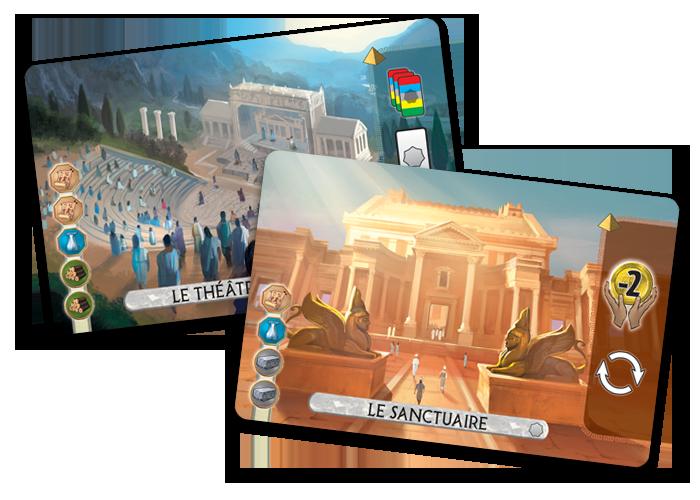 7 Wonders Duel: Panthéon,  les 2 nouvelles Merveilles © Repos Production / Coimbra / Bauza / Cathala