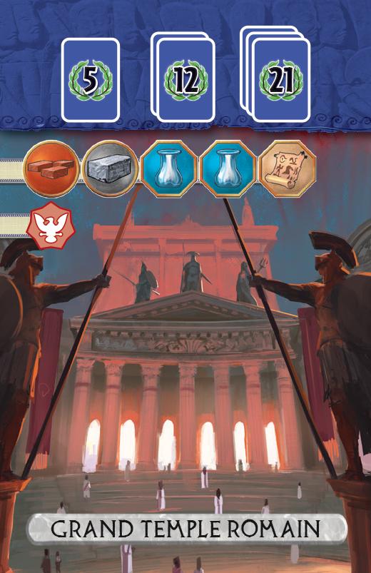 7 Wonders Duel: Panthéon,  une carte Grand Temple © Repos Production / Coimbra / Bauza / Cathala